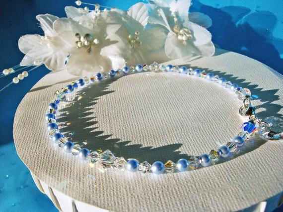 Hochzeit - Something Blue Anklet Swarovski Crystals Pearls Wedding Ankle Bracelet Jewelry