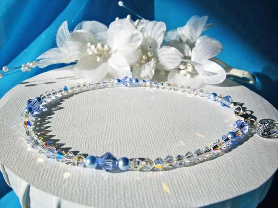 Something Blue Anklet Swarovski Crystals Pearls Wedding Ankle
