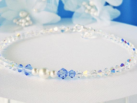 Something Blue Anklet Swarovski Crystal Wedding Ankle Bracelet