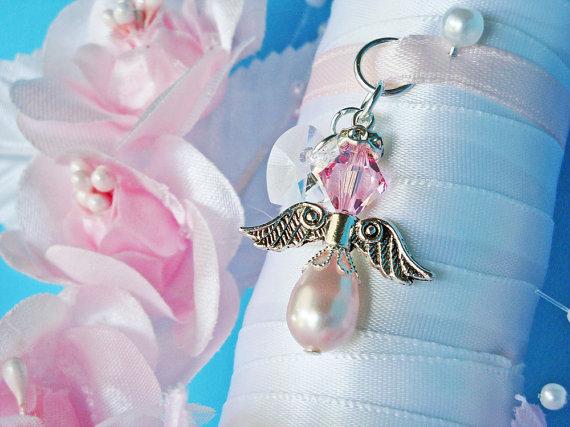 Hochzeit - Pink Wedding Angel Bouquet Charm Swarovski Pink Crystal and Pearl Bridal Bouquet
