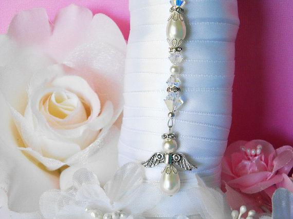 Hochzeit - White Wedding Bouquet Charm Swarovski Crystal and Pearl Bridal Bouquet Angel
