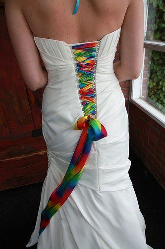 Wedding - Lace Up Your White Wedding Gown With A Rainbow Of Colors