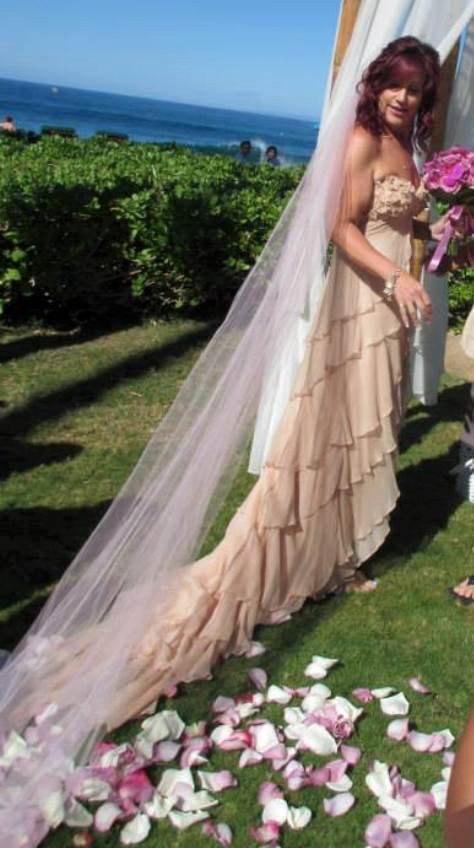 Mariage - Wedding Veil - Blush Cathedral Classic Cut Raw Edge Cut One Tier Bridal Veil