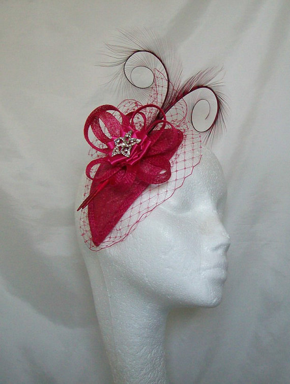 Cerise Raspberry Pink Blusher Veil Curl Feather Rhinestone Pearl Teardrop Fascinator Mini Tail Hat Wedding Derby Custom Made To Order