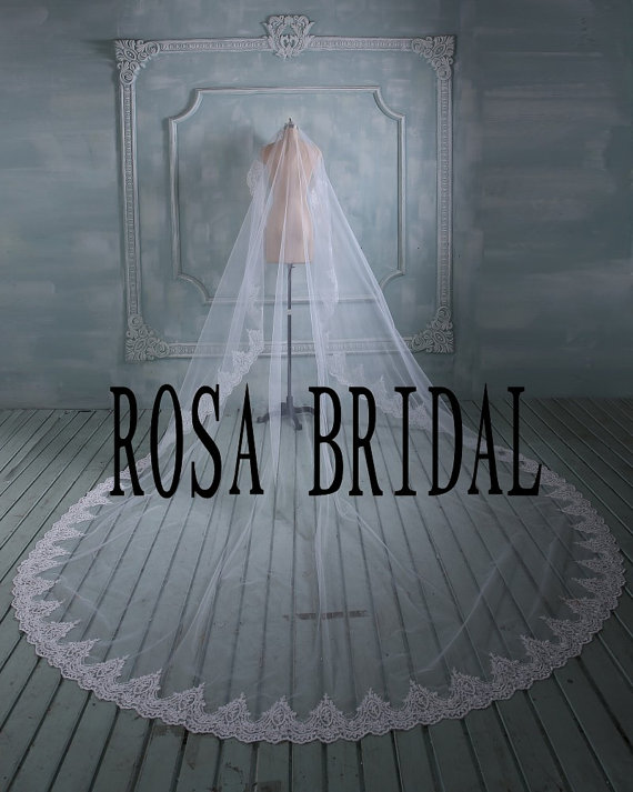 """Mariage - Custom 2 Tiers elbow length Bridal lace veil cathedral 196"""""""