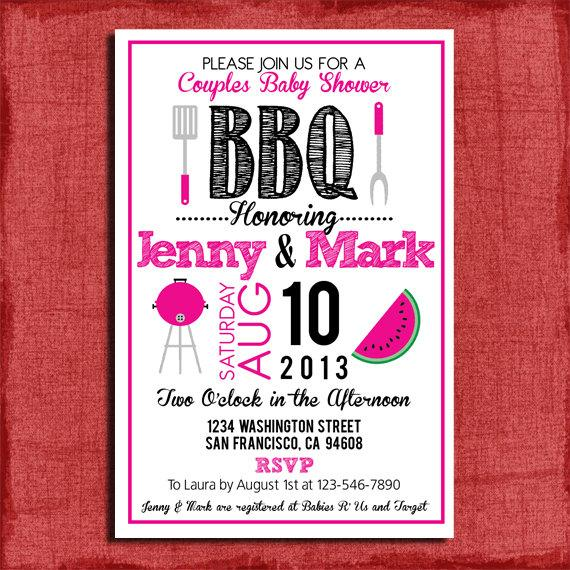 Mariage - Printable BBQ Couples Baby or Wedding Shower  4x6 or 5x7 Invitation-DIY