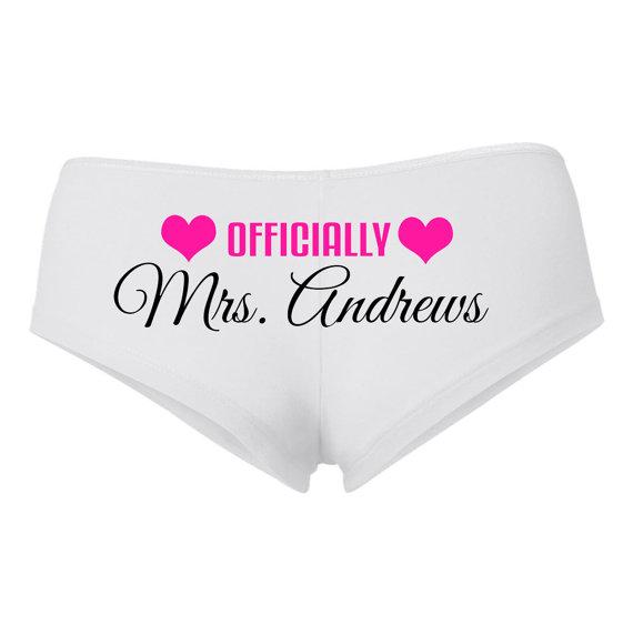 Wedding - PERSONALIZED OFFICIALLY MRS underwear, Bridal shortie, Bride undies, boyshort, Wedding Lingerie,Bridal Shower Gift,Honeymoon,Engagement gift