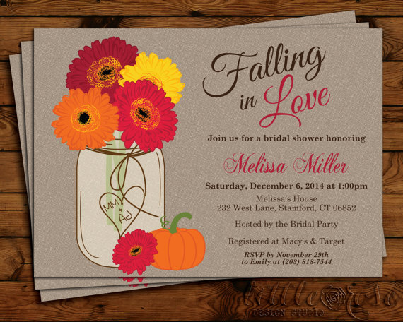 Fall Flowers Mason Jar Bridal Shower Invitation   Thanksgiving   Bridal  Shower Invite   Wedding Shower   Daisies   Baby Shower   Printable
