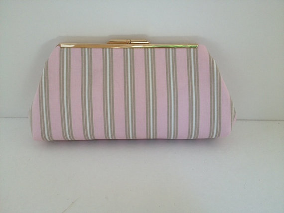 Свадьба - Pink Taupe Stripe Clutch Purse with Gold Finish Snap Close Frame, Bridfal Clutch, Wedding,