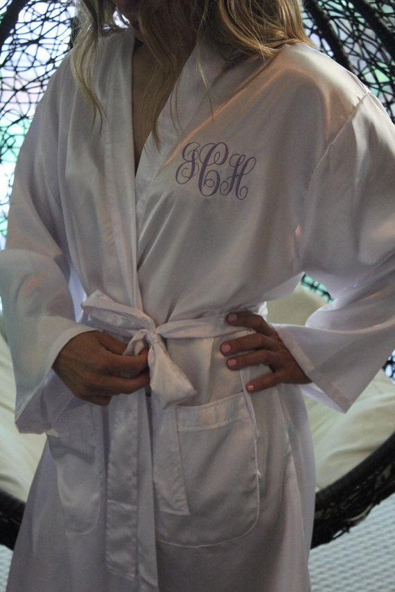 Свадьба - MONOGRAMMED Satin Komono Robe; RUSH Orders Welcome; Wedding and Large Orders our Specialty