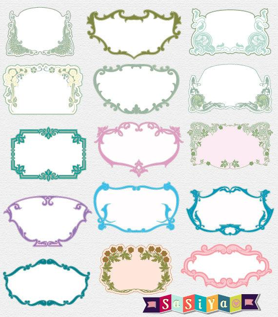 Frame Design Line Art : Instant download vintage ornate wedding frames clip art