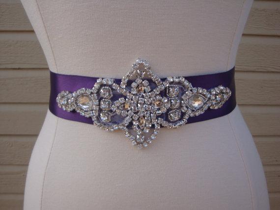Mariage - Bridal Sash - Wedding Dress Sash Belt - Purple Rhinestone Crystal Wedding Sash - Plum Purple Rhinestone Bridal Sash