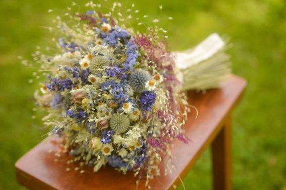 Свадьба - Purple wildflower bridal bouquet, purple bridal bouquet, purple and blue, dried flower bouquet, purple wedding, summer wedding