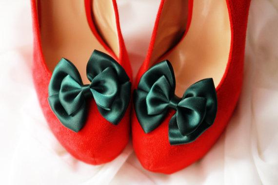 زفاف - Forest Green Shoe Clips - Bows Clips Bridal Wedding Shoes Clips Engagement Party Bride Bridesmaid - Dark Green