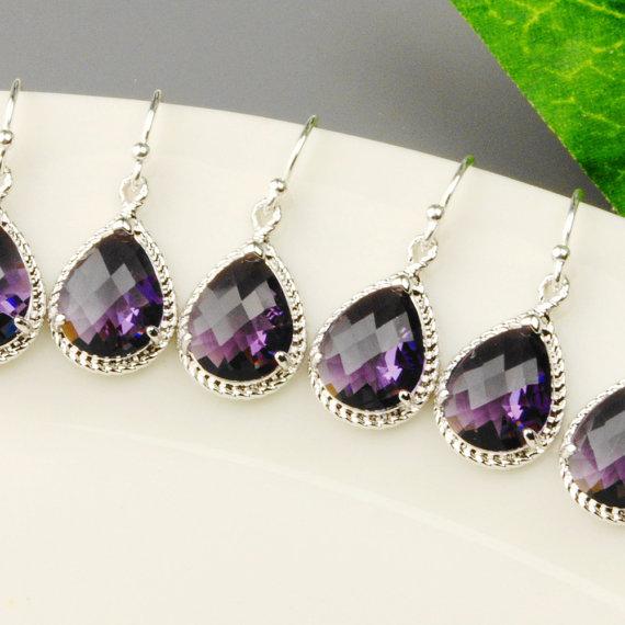 Mariage - Amethyst Bridesmaid Earrings SET OF 4 - 8% OFF Silver Purple Bridesmaid Jewelry Set - Dark Purple Crystal Drop Earrings - Wedding Jewelry