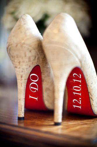 Hochzeit - I Do Vinyl Shoe Decals Wedding Date Included - 1.00 SHIPPING