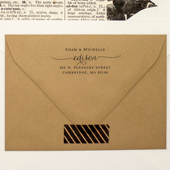 Mariage - Address Stamp Custom Script - Self Inking - Housewarming Gift - Wedding Stamp