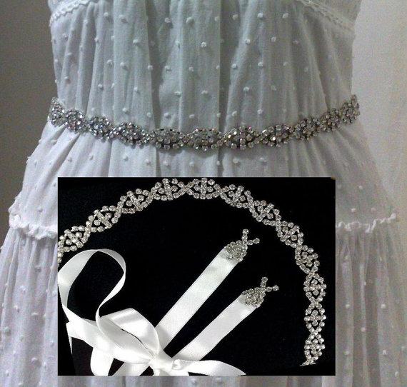 Mariage - Crystal Bridal Sash, Art Deco Sash, Gatsby Wedding Belt, Geometric Dress Jewelry, EUROPA
