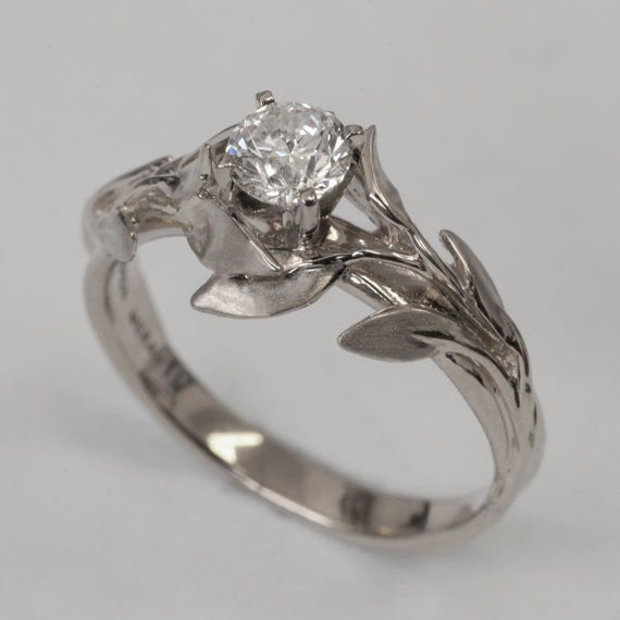 Leaves Engagement Ring No 4 14K White Gold And Diamond