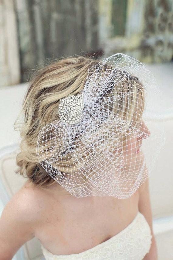 Свадьба - Crystal Hair Pin, Crystal Hairpiece, Wedding Hairpiece, Rhinestone Hairpiece, Birdcage, Birdcage Veil, Veil, Embellished Veil