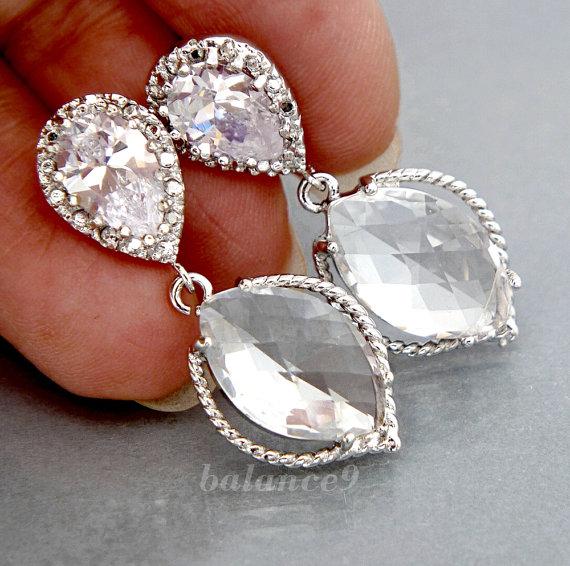 زفاف - Wedding jewelry Bridal Earrings, Cubic Zirconia Ear Posts, Silver framed clear crystal marquise drop dangle, bridesmaid gift, by balance9