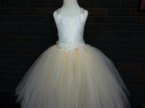 Mariage - Lace corset back flower girl dress/ Vintage flower girl tutu dress/ Junior bridesmaids dress/ Flower girl pixie tutu dress