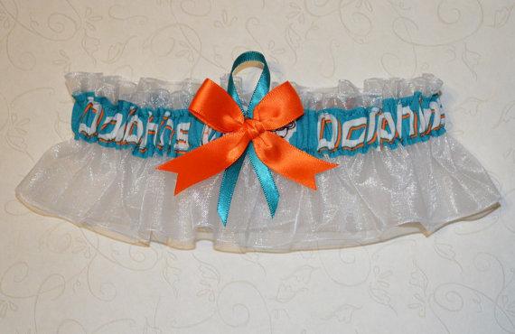 Hochzeit - Wedding Keepsake Garter Handmade with Miami Dolphins fabric FFWM