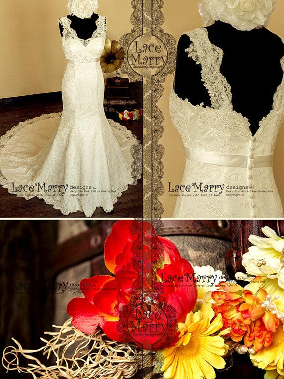 Mariage - Gorgeous Lace Wedding Dress in Trumpet Style Silhouette, Features Scalloped Lace Straps and Satin Belt with Delicate Beading Brooch