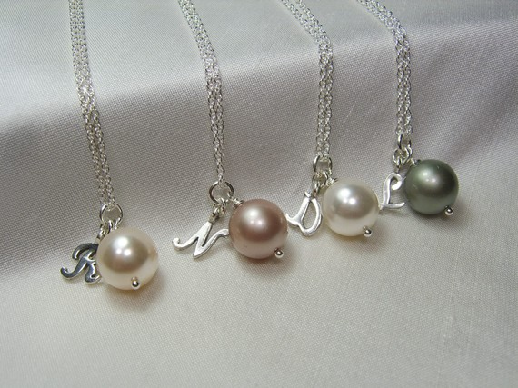 Hochzeit - Bridesmaid Necklaces - Set of 4 - Personalized Will You By My Bridesmaid Gift - Pearl Wedding Jewelry Bridal Party Gift