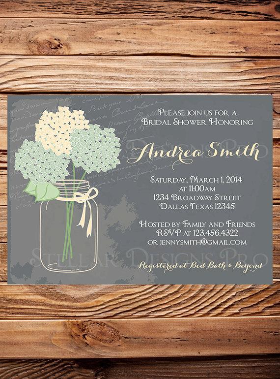 Hochzeit - Bridal Shower Invitation,Hydrangea Mason Jar, Gray, Mint, Vintage Mason Jar, Green, Purple, Mason Jar, Hydrangea, Wedding Shower - Item 1186