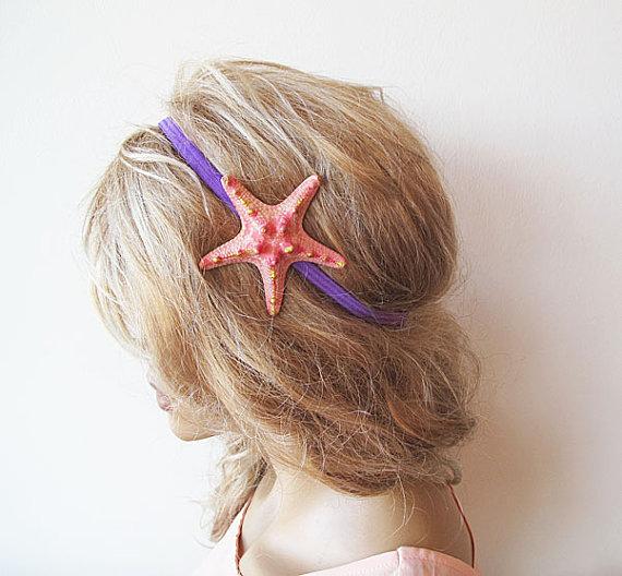 Wedding - Peach Starfish Elastic Headband, Starfish Hair Accessories,  Beach Hair, Mermaid Hair, Beach Weddings, Beach Hair,