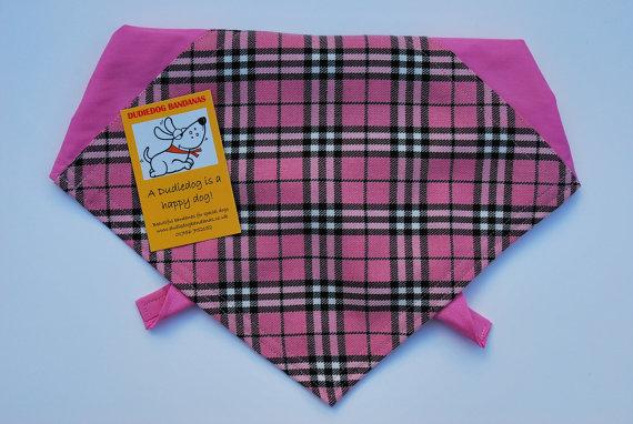 Свадьба - Lovely Pink Tartan Fashion Dog Bandana. Handmade in the Yorkshire Dales by Dudiedog.Speedy service. Free UK P&P.  7 sizes!