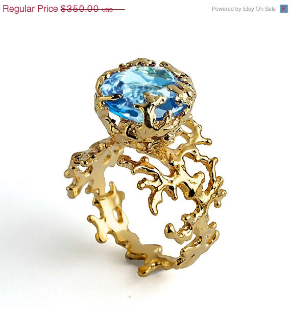 20 Off SALE CORAL Blue Topaz Engagement Ring Statement Ring