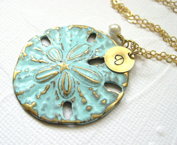Hochzeit - Beach necklace, Aqua blue ocean jewelry, sand dollar pendant, Custom gold initial necklace, Personalized beach wedding jewelry