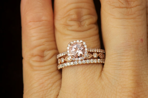 Matching Ring Set Kylie B Morganite And Diamond Halo Engagement Natalie Pee Addison Wedding Band