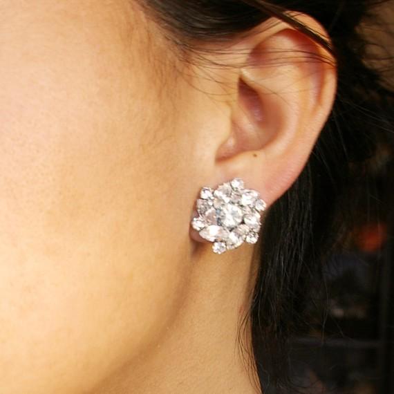 Wedding - Rhinestone Bridal Stud Earrings, Vintage Inspired Wedding Bridal Jewelry, Crystal Flower Stud Wedding Earrings, CELINE