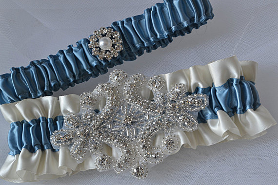 Mariage - Wedding Garter Set - Antique Blue Garters And Ivory Satin With Crystal Rhinestone Applique Embellishment, Garter Belts, Bridal Garter Set