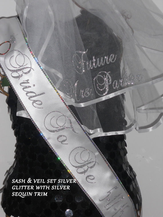 bachelorette set with trim bridal shower sash set personalized veil sash bridal veil and sash by sashanation