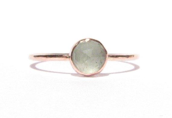 Mariage - Aquamarine & Solid Rose Gold Ring - Rose Cut Aquamarine Ring - Stacking Ring - Thin Gold Ring -Gemstone Ring -Engagement Ring -READY TO SHIP
