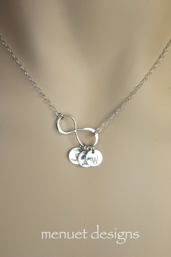 Personalized jewelry silver infinity necklace bridal necklace personalized jewelry silver infinity necklace bridal necklace gift for mother wife sister best friends custom initial jewelry discs aloadofball Gallery