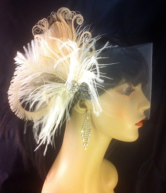 Wedding - Feather Bridal Fascinator, Feather Fascinator, Bridal Fascinator, Silk Tulle Wedding Veil, Fascinator, Ivory/Champagne/Grey - Fancy Peacock