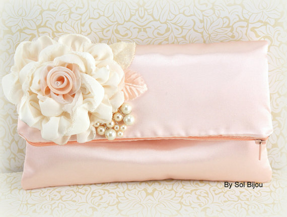Mariage - Clutch, Wedding, Bridal, Satin, Bridesmaids, Maid of Honor, Handbag, Purse, in Ivory, Cream, Peach with Pearls and Chiffon, Vintage Inspired