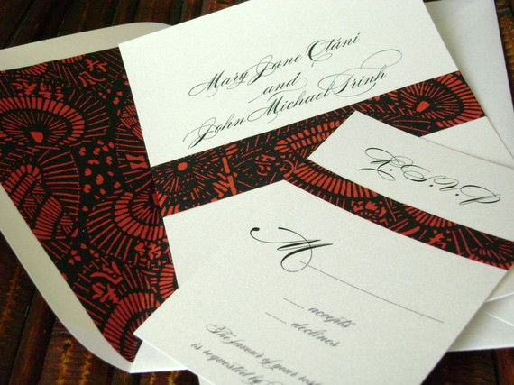 Asian Wedding Invitations With Lined Envelopes