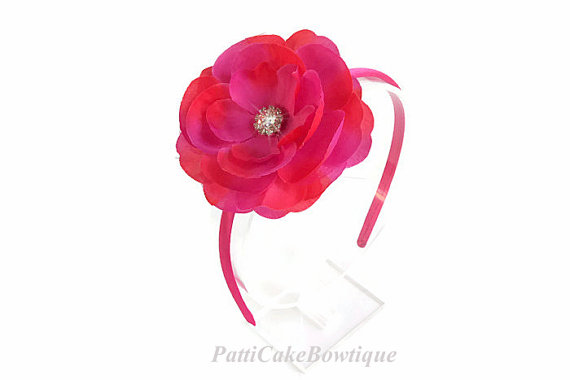 زفاف - Little Girls Hot Pink Flower Headband, Toddler Headband, Hot Pink Headband, Hot Pink Flower on Hard Headband, Big Girls Headband