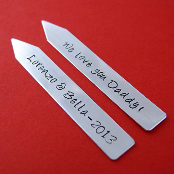 Mariage - Custom Collar Stays - Personalized Hand Stamped Sterling Silver Collar Stays - Great Groomsmen Gifts - Father's Day