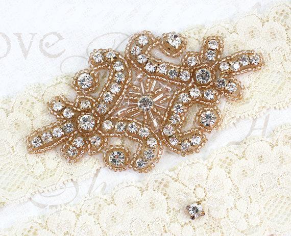 Свадьба - RACHEL - ROSE GOLD Vintage Inspired Wedding Stretch Lace Garter, Rhinestone Crystal Garters, Bridal Garter Set
