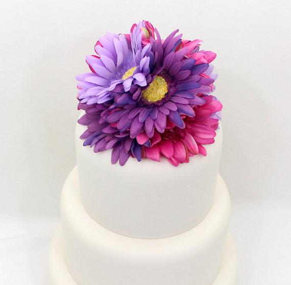 Wedding cake topper fuchshia pink purple lavender gerbera cake wedding cake topper fuchshia pink purple lavender gerbera cake topper silk floral wedding cake topper wedding cake flowers junglespirit Gallery