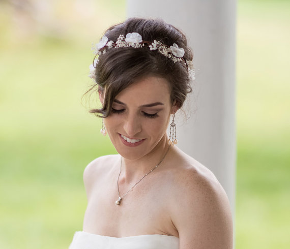 زفاف - Ivory flower crown, Bridal headpiece, Woodland wedding hair accessories, Floral headband, Wreath, Baby breath wedding