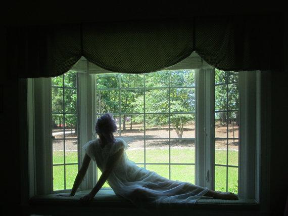 Свадьба - sheer white bridal peignoir . flutter sleeve honeymoon wear .small.medium .sale s a l e
