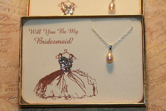 Will You Be My Bridesmaid Gift Wedding Jewelry Card Thank Pearl Necklace Bridal Party